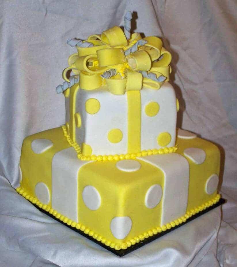 Yellow Grey And White Baby Shower Cake