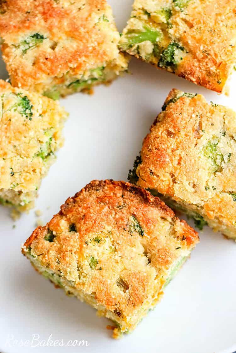 squares of broccoli cheese cornbread