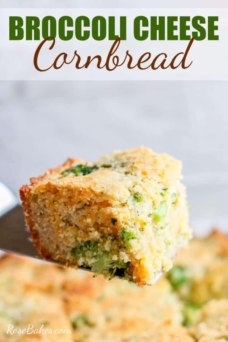 broccoli cheese cornbread square on a spatula