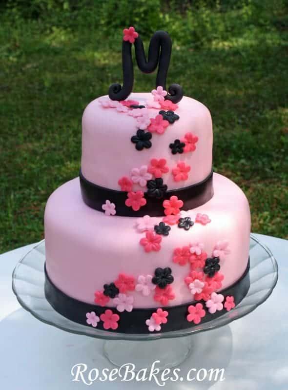 Pink Amp Black Bridal Shower Cake