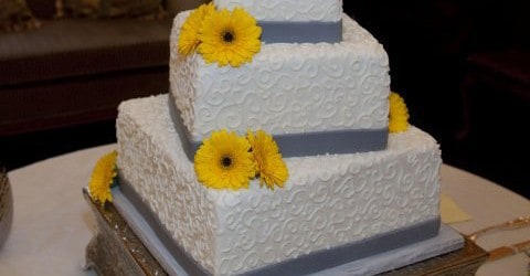 Jake Ariel Gray Yellow Wedding Cake