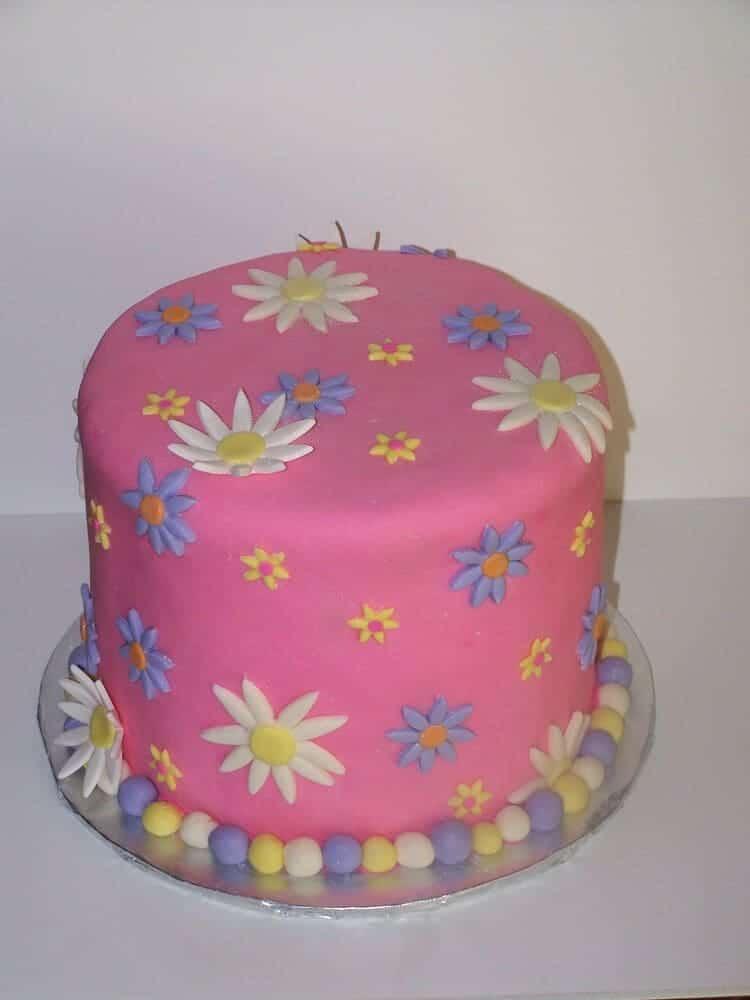 Pink Daisy Cake Decoration : Pink Daisy Cake (with Rainbow Inside}