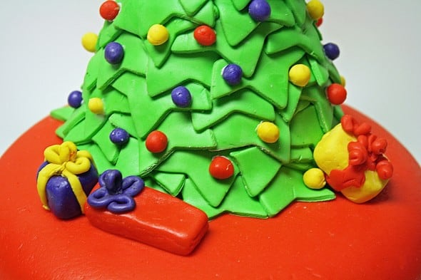 Gifts under Christmas Tree Cake