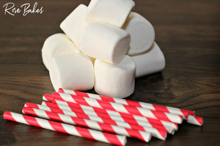 marshmallows and red & white paper straws