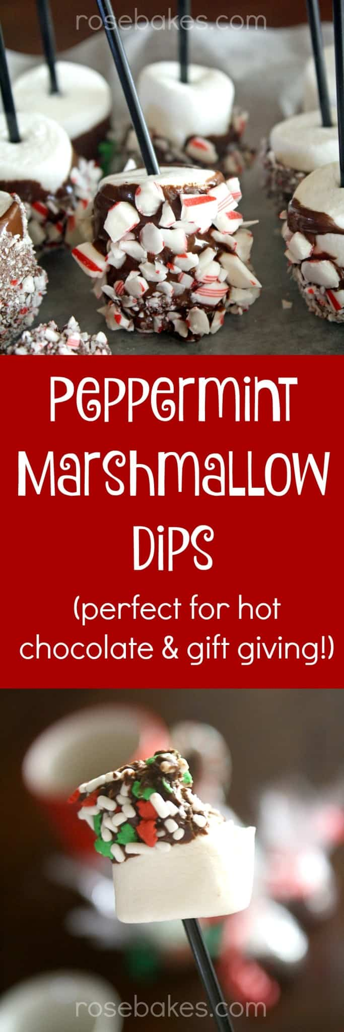 Peppermint Marshmallow Dips! These are perfect for dipping in hot chocolate, eating right off the stick, or wrapping up to give as a gift with a coffee mug & hot chocolate!