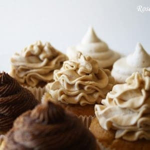 Angled Coffee Cupcakes with Three Frostings