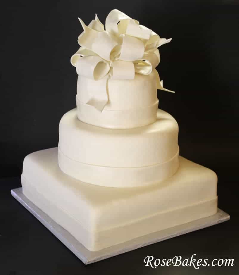 Elegant White Wedding Cake With A P Initial It For