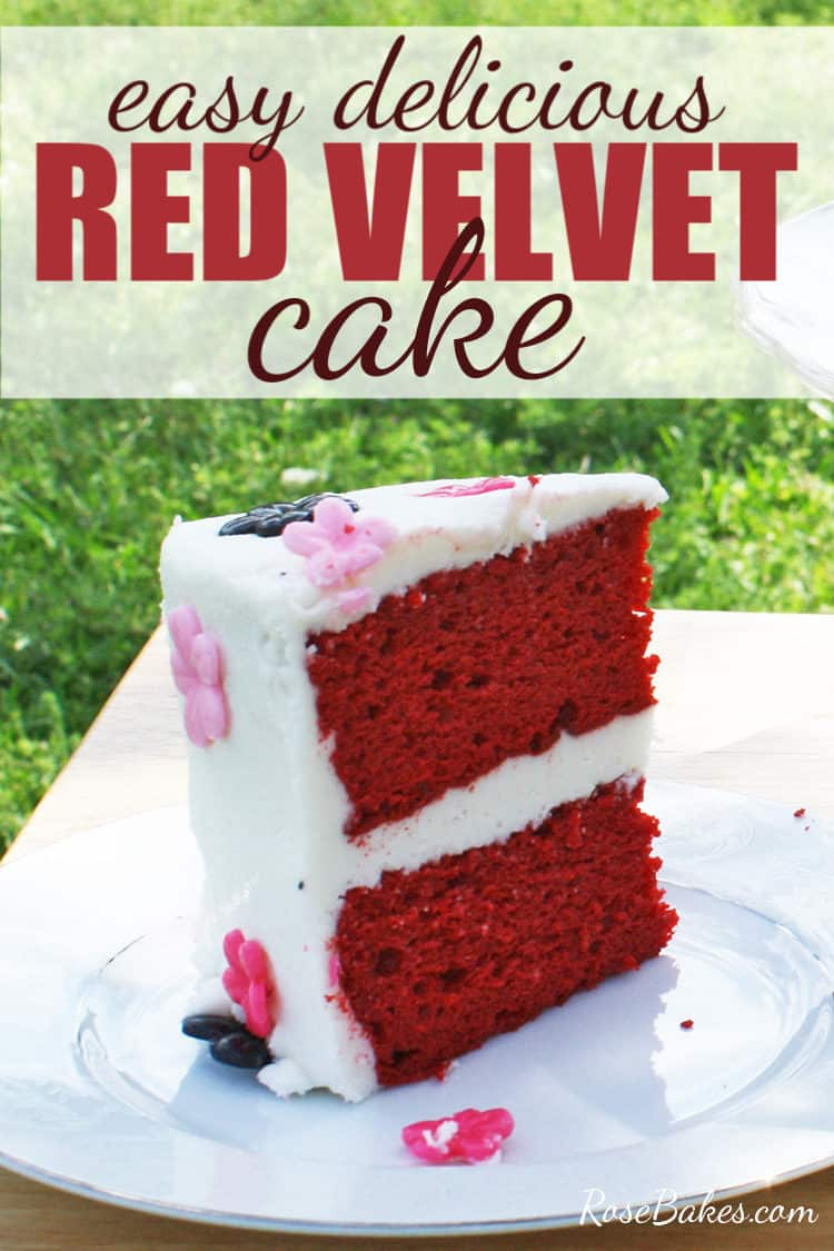 slice of red velvet cake on a plate with pinterest text overlay