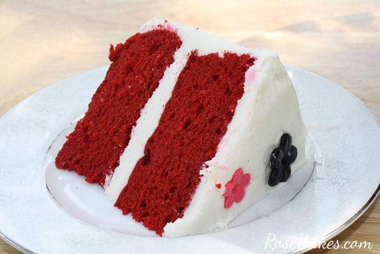 slice of red velvet cake on a white plate