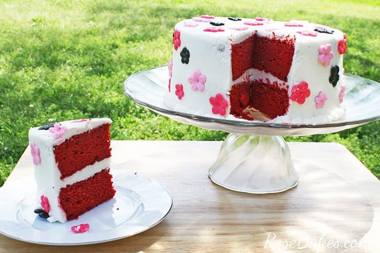 sliced red velvet cake on a cake stand