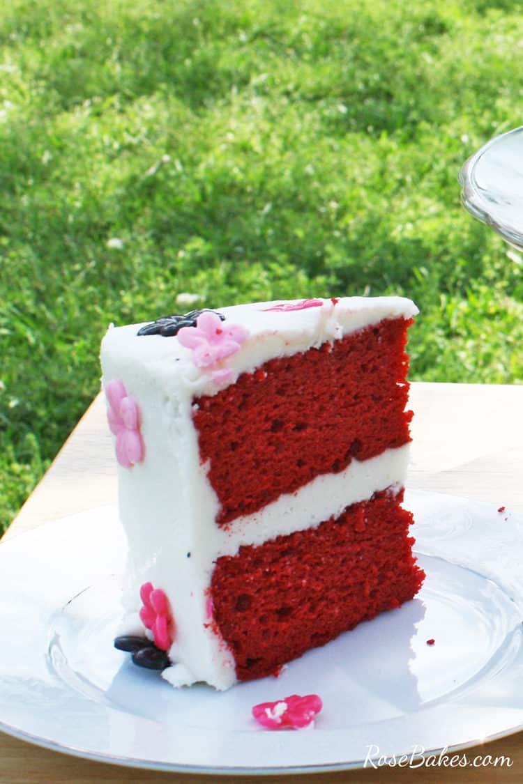 slice of red velvet cake mix recipe on a white plate