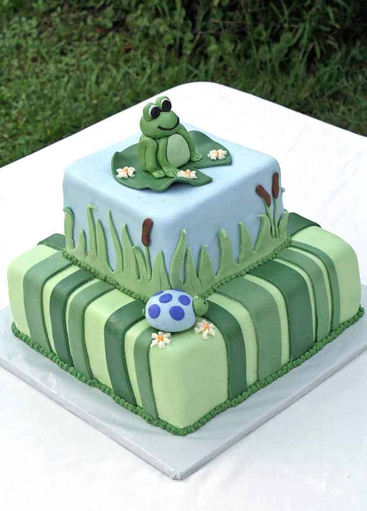 Frog Turtle Baby Shower Cake