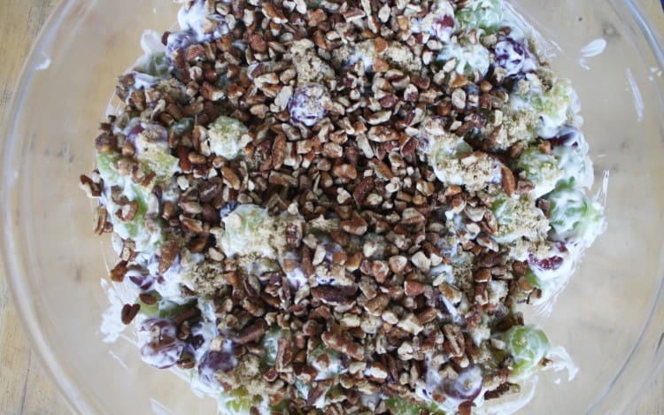 Grape Salad with Nuts and Brown Sugar