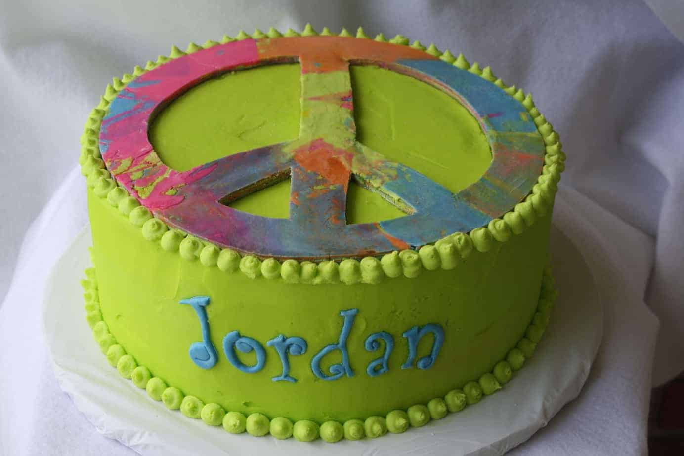Amazing Peace Sign Tie Dyed Birthday Cake With Tutorial Personalised Birthday Cards Epsylily Jamesorg