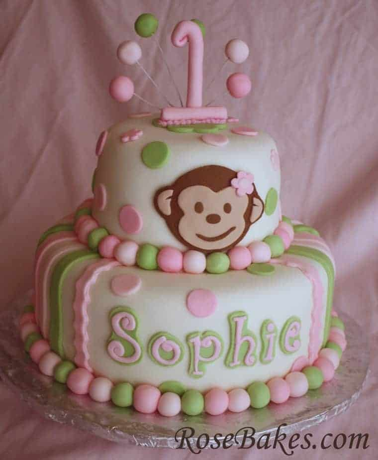 A New Pink Green Mod Monkey Cake