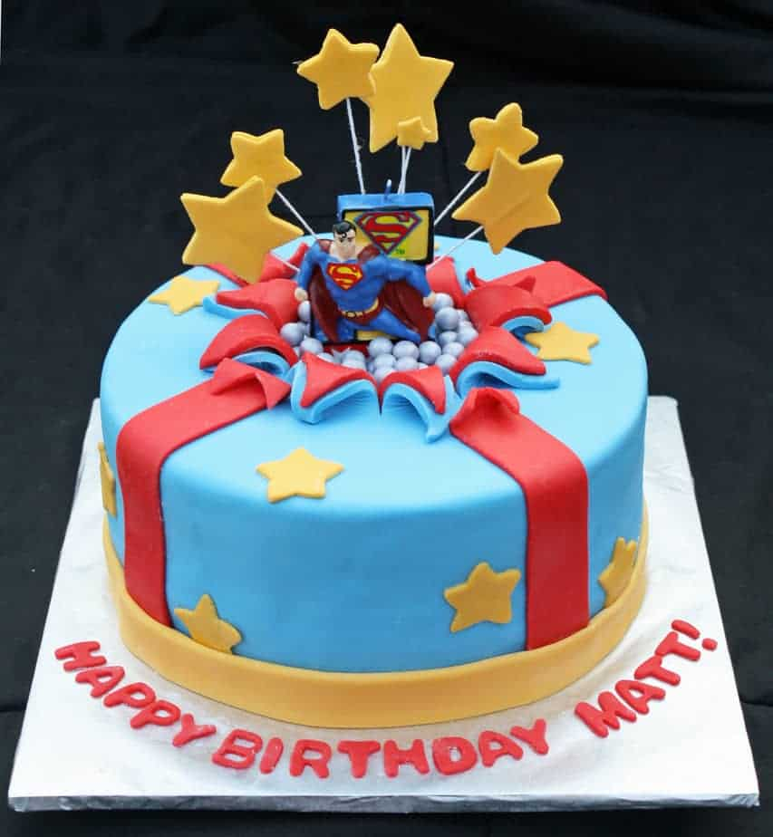 Superman Bursting Out of the Birthday Cake - Rose Bakes