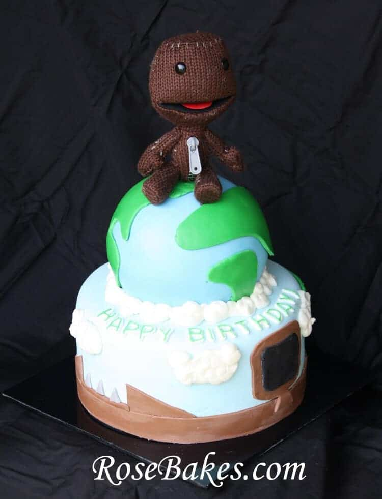 Little Big Planet Birthday Cake With Sackboy Topper