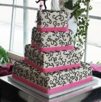 Pink Black Wedding Cake