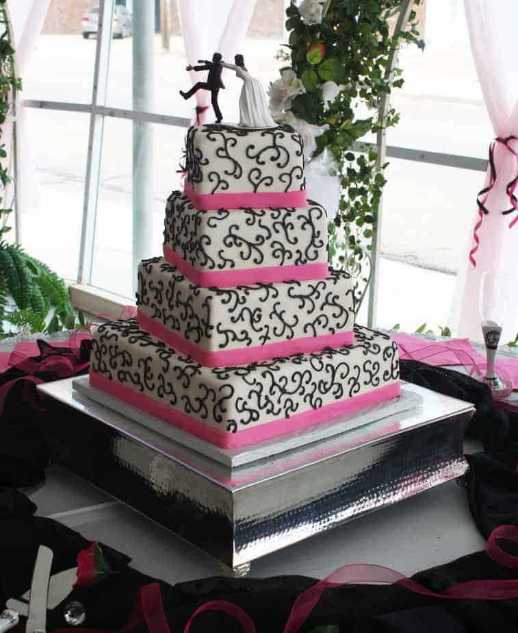 Hot Pink Amp Black Wedding Cake