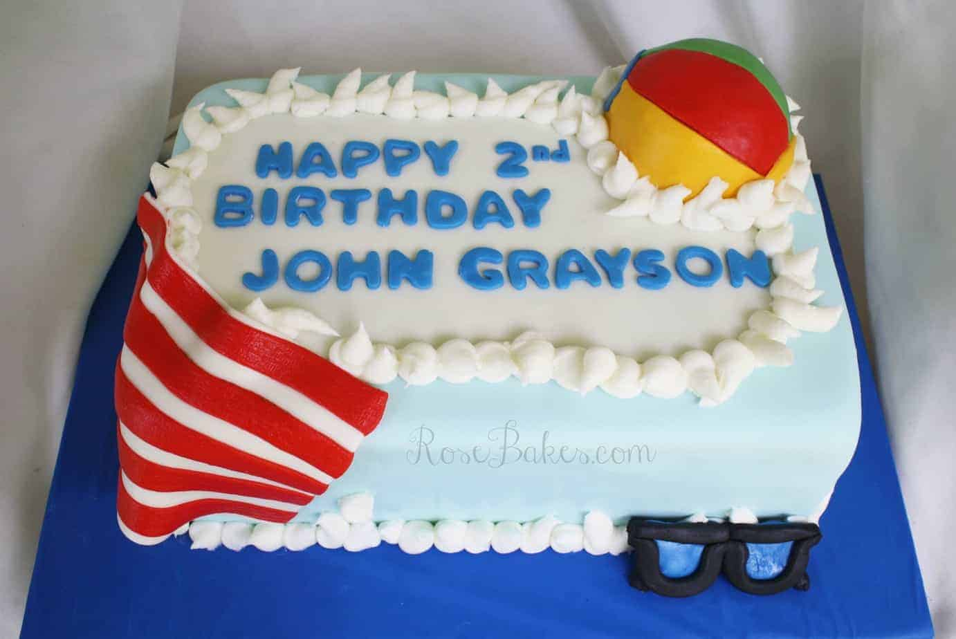 Cake Decorations For Pool Party : Pool (or Beach) Party Birthday Cake - Rose Bakes
