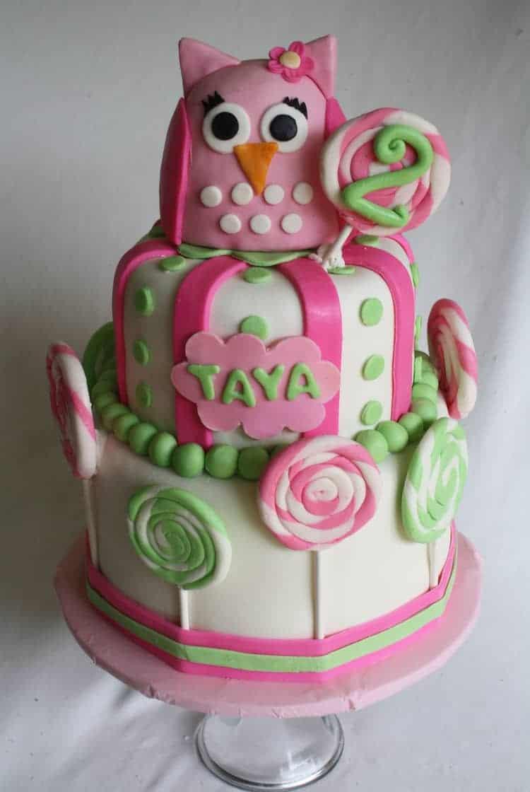 Taya Pink Owl Cake