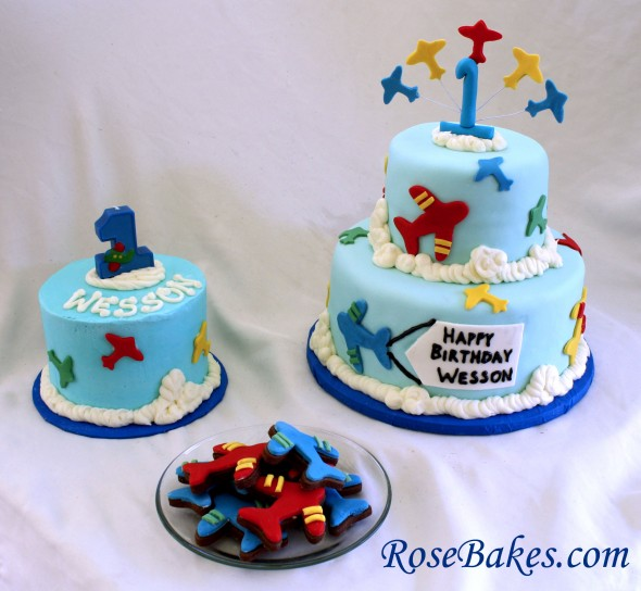 Airplane Cake and Smash Cake and Cookies