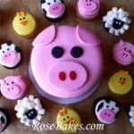 Pig Smash Cake with Barnyard Cupcakes