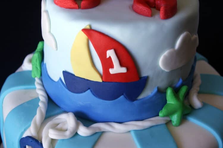 2nd tier of anchor aweigh cake