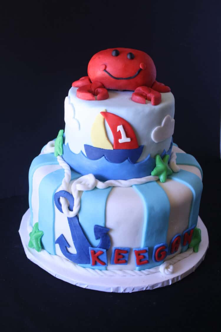 Anchors Aweigh Nautical Theme Cake with a crab on top