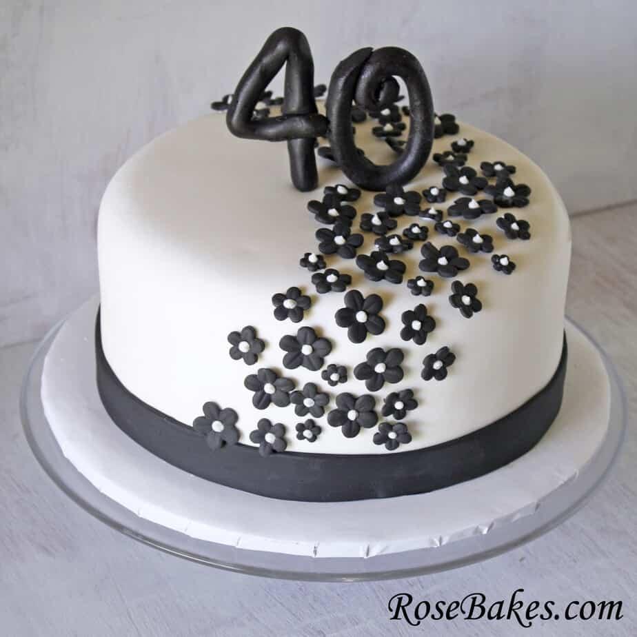 Black White 40th Birthday Cake Flowers