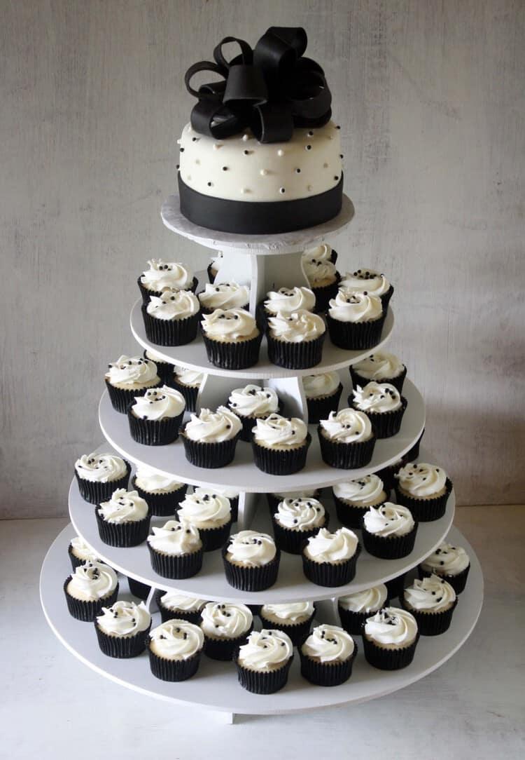 Black White Cake Cupcake Tower Small Rose Bakes