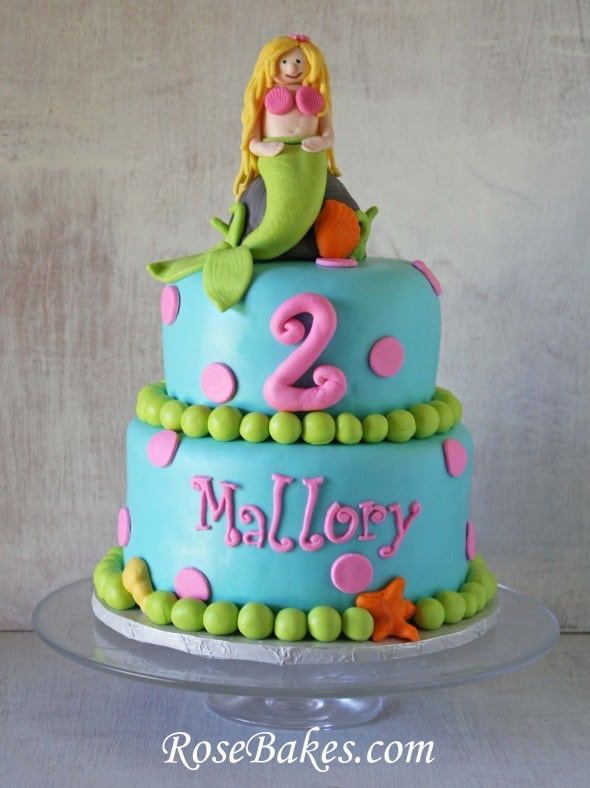 Bright Blond Mermaid Birthday Cake 2