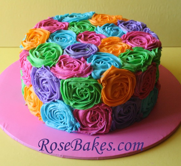 Birthday Cake Designs Roses : Bright Buttercream Roses Birthday Cake