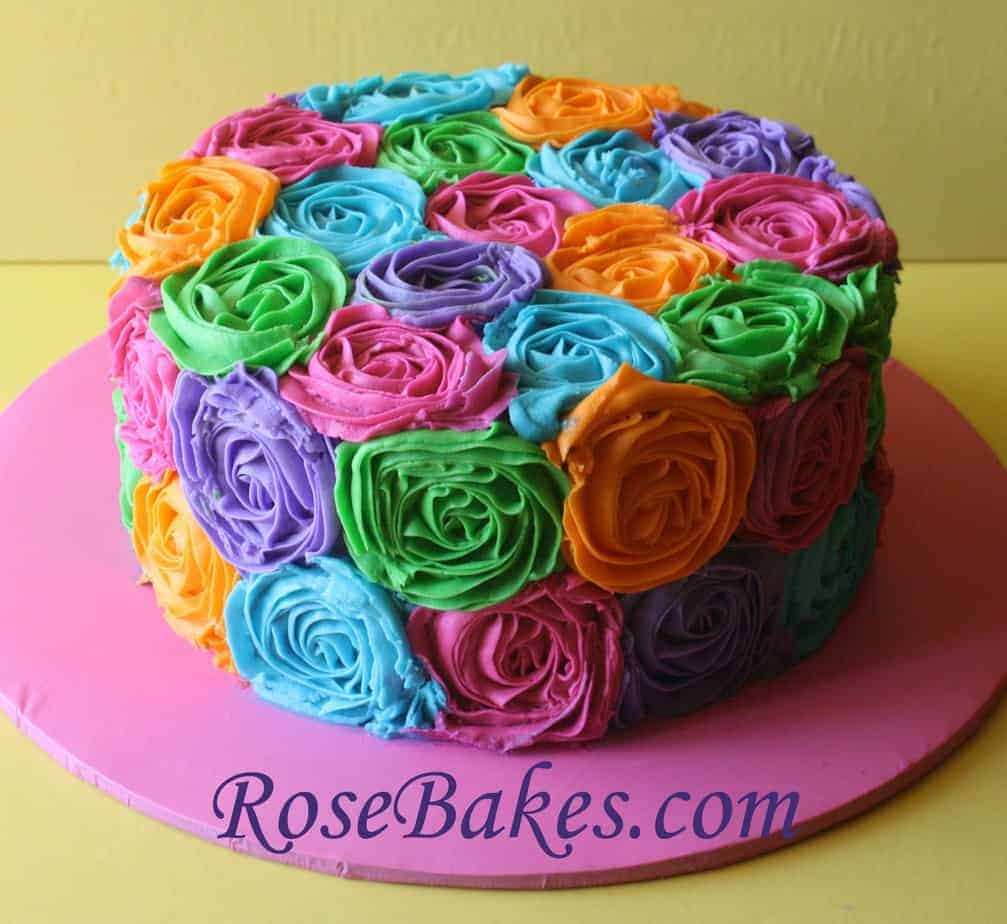 Cake Decorating Buttercream Birthday : Bright Buttercream Roses Birthday Cake
