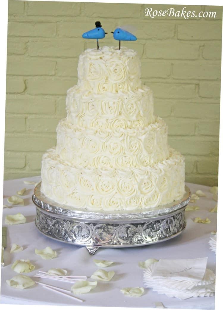 Pink Ombre Buttercream Roses Wedding Cake - Rose Bakes