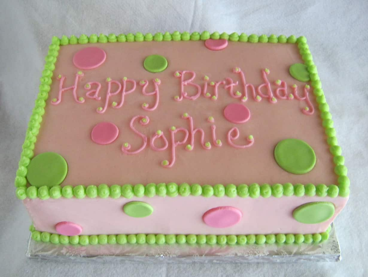 Happy Birthday Pink Green Sheet Cake Rose Bakes