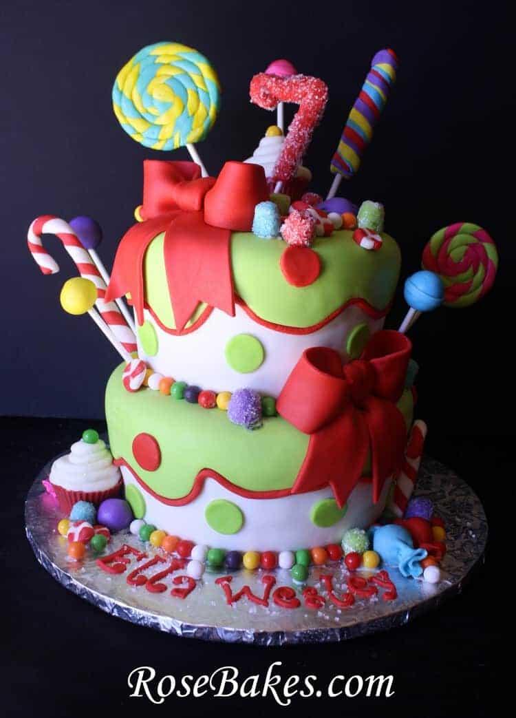 Holly Jolly Christmas Candy Birthday Cake