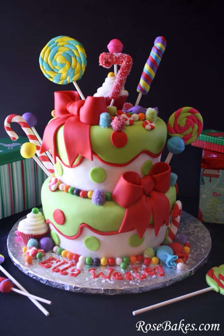 Holly Jolly Christmas Candy Cake Front with Gifts