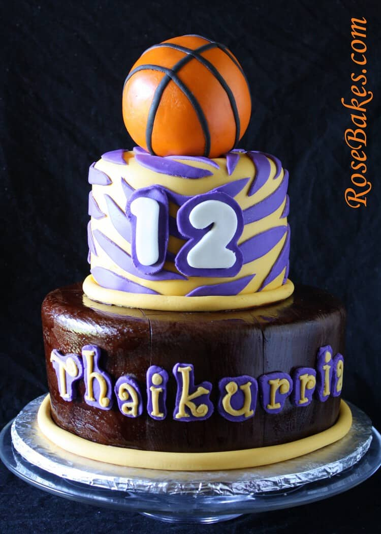 Outstanding Lsu Basketball Birthday Cake Front Rose Bakes Funny Birthday Cards Online Aeocydamsfinfo