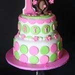 Mod Circles Monkey Cake Girl Pink