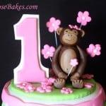 Mod Circles Monkey Cake Topper 1st Birthday
