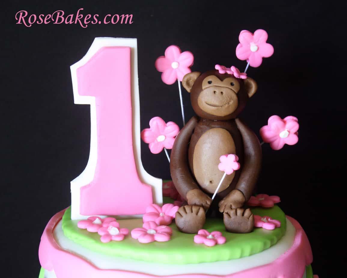 Mod Circles Monkey Cake Topper 1st Birthday Rose Bakes