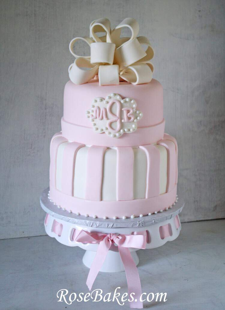 PInk Baby Shower Cake Monogram Bow Fondant Stripes Rose Bakes