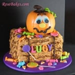 Pumpkin on Bale of Hay with Candy Cake for Pumpkin Patch Party