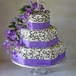 Purple Wisteria Black Scrollwork Wedding Cake Monogram Topper