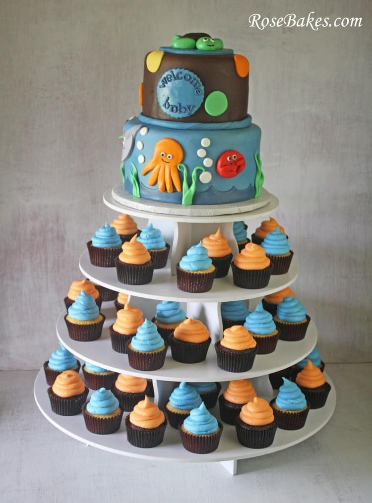 Under The Sea Baby Shower Cake Cupcake Tower Stand Rose