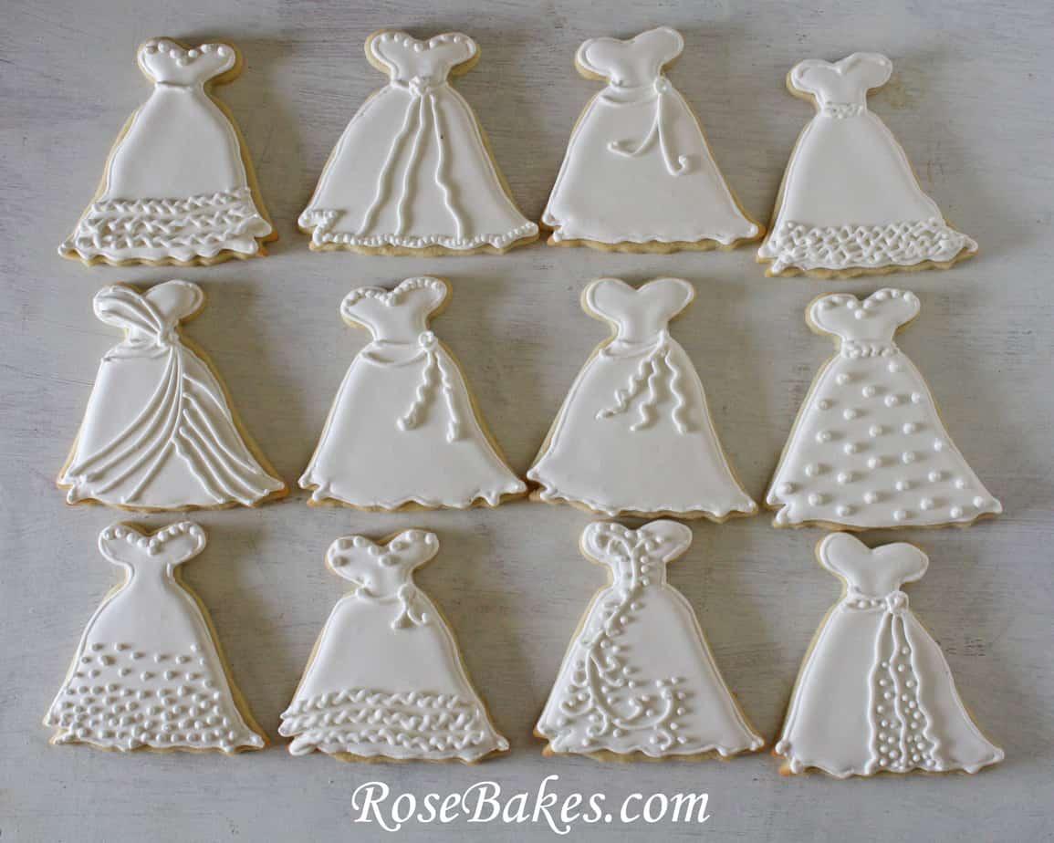 Wedding Dress Cookies Variety   Rose Bakes