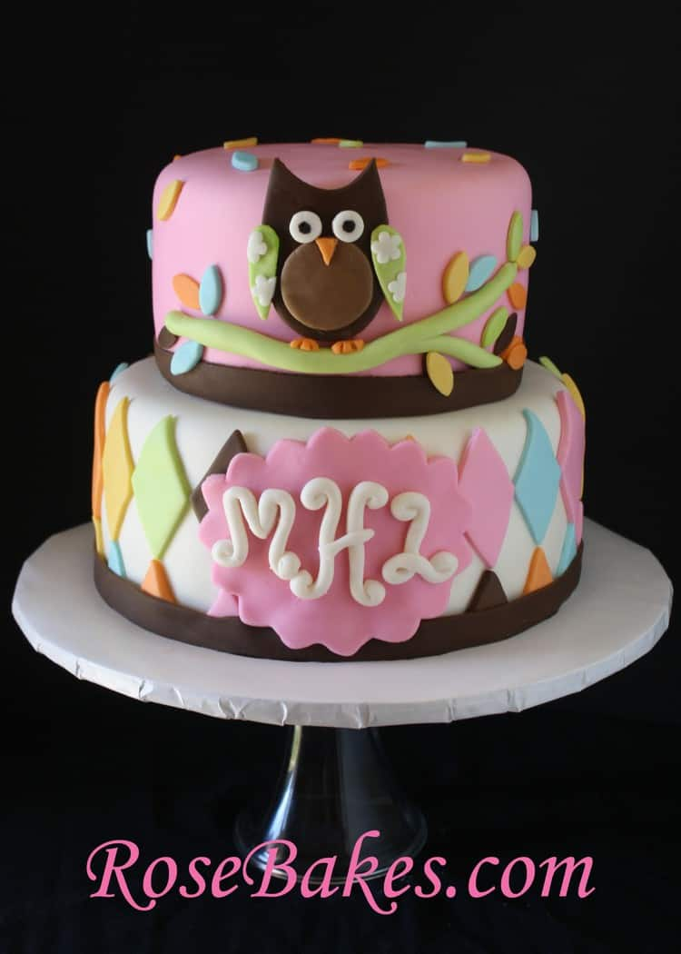 Whoo Loves You Owl Baby Shower Cake Front