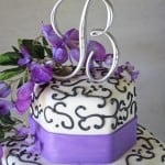 Wisteria Wedding Cake Topper with Black Scrolling