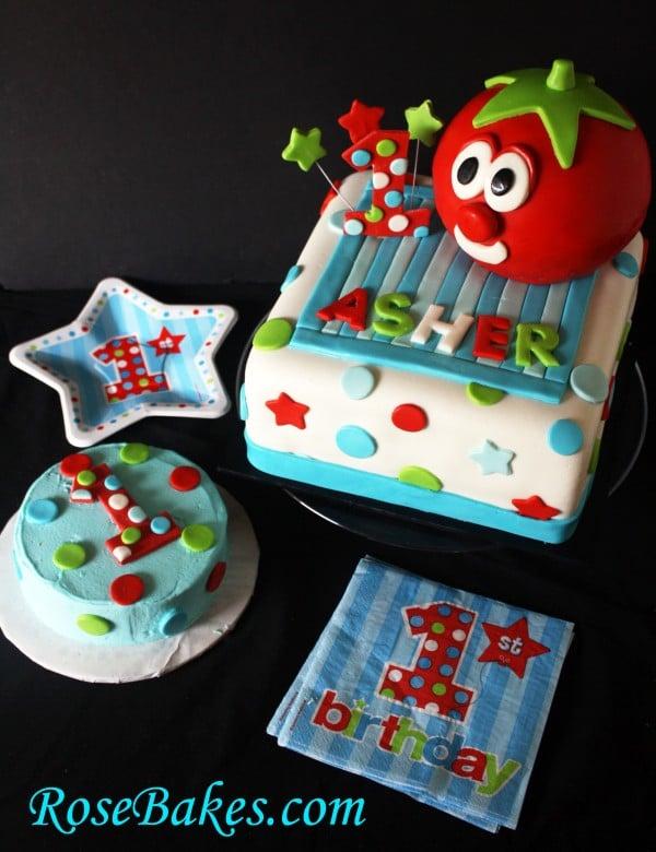 Enjoyable Veggietales Bob The Tomato 1St Birthday Cake Personalised Birthday Cards Veneteletsinfo